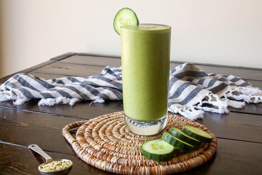 Зеленый смузи с огурцами, пошаговый рецепт с фото