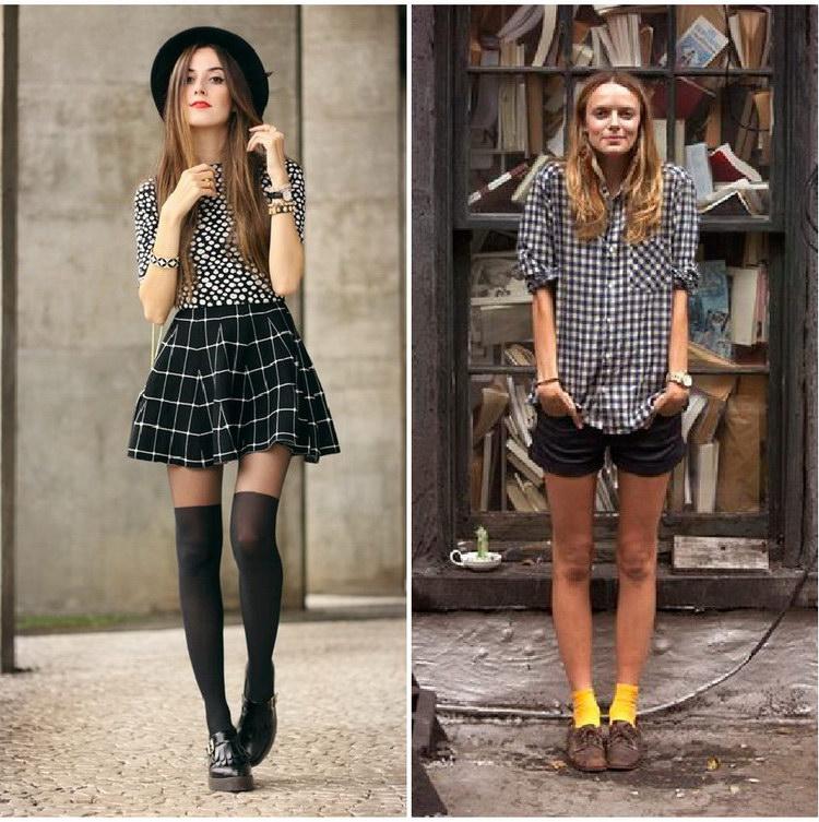Как носить носки с юбками