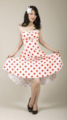 Белое платье а красный горошек купить